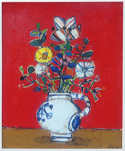 Paul Aizpiri: Bouquet of Flowers with a Red Backgound, ca, 1965 - painting