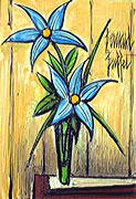Bernard Buffet: Blue Flowers in a Green Vase - Painting