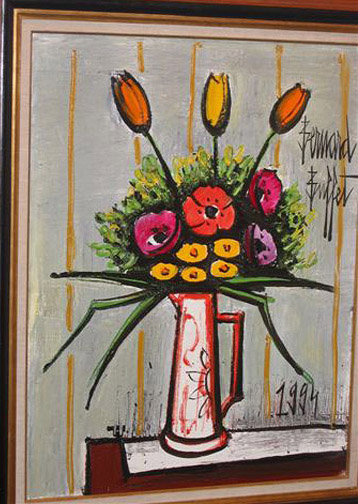 Bernard Buffet Bouquet With Tulipes Amp Anemones In A Vase