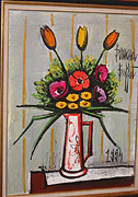 Bernard Buffet: Tulipes & Anemones in a Vase, 1994 - Painting