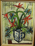 Bernard Buffet: Flowers in a White and Blue Pot - Painting