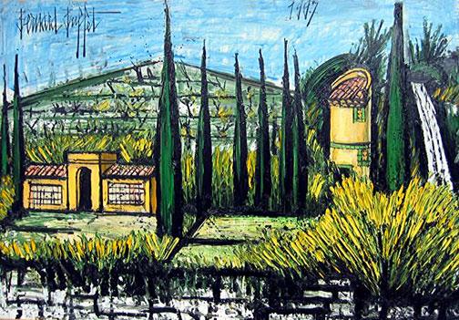 Bernard Buffet: Le mas de la Baume, 1977 - Painting
