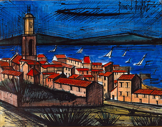 bernard buffet port de saint tropez 1986 watercolor