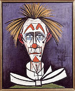 Bernard Buffet: Clown on Blue Background, 1985 - Painting