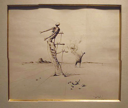 Salvador Dali: Girafe en Feu, 1959 - Drawing