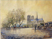 Frank-Will: Notre-Dame with Small Market Book Stands, Paris - Watercolor