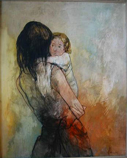 Jean Jansem: Mother and Child, 1972 - painting